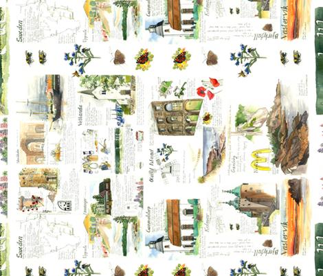 Swedish travel sketches  fabric by karen's_nature_art on Spoonflower - custom fabric