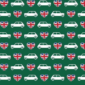 Mini Cooper Hearts - Union Jack Green - Small