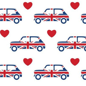 Mini Cooper Hearts - Union Jack Car - White - Large