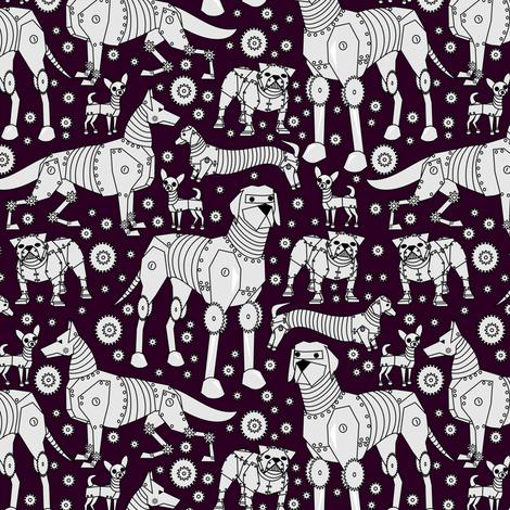 robot dogs purple small fabric by pamelachi on Spoonflower - custom fabric