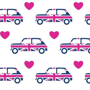 Mini Cooper Hearts - Union Jack Car - Bright Pink - Large