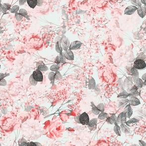 """18 """" Blush Living Coral Vintage Roses"""