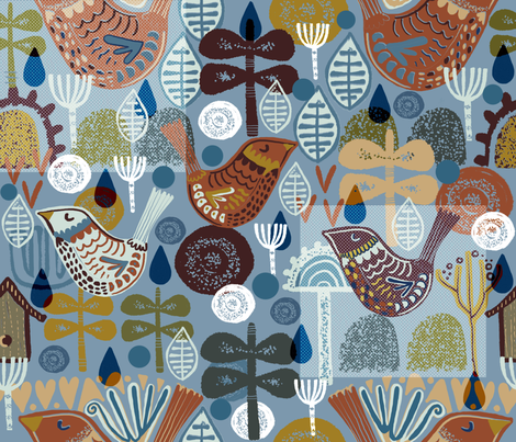 Snooty Birds Scandi Style. fabric by slumbermonkey on Spoonflower - custom fabric
