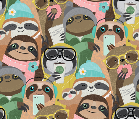 big city sloths fabric by michaelzindell on Spoonflower - custom fabric
