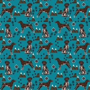 SMALL - german shorthaired pointer dog fabric dogs and hiking design dog mountains fabric - teal