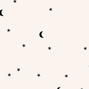 Dreamy night counting stars under the moon woodland camping trip christmas winter creme monochrome