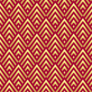 Gold art deco stripes on red