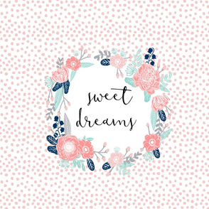 Sweet Dreams Floral Print - pink, mint, navy florals