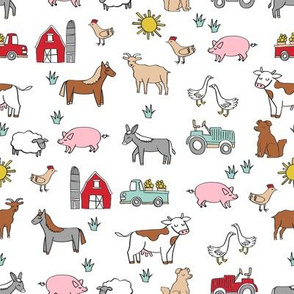 Small - farm // nursery kids gender neutral cow chicken pig barn farms fabric white colorful