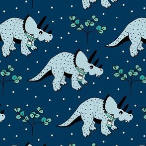 Christmas winter season dinosaurs design cute snow night baby dino print for kids blue