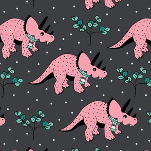 Christmas winter season dinosaurs design cute snow night baby dino print for kids pink