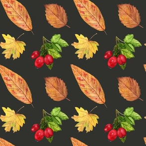Watercolor autumn leaves and beries pattern on black