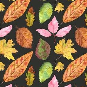 Watercolor Leaves Pattern Black