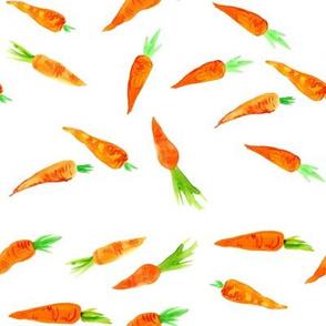 Watercolor Carrots // White