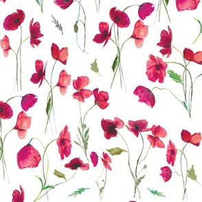 "10"" Pink Watercolor Poppies // White"