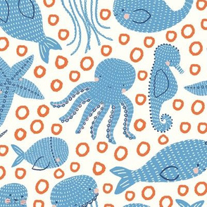swim party // ocean animals // narwhal // whale // jellyfish // seal