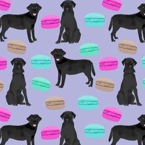 black lab food pattern fabric - cute black lab fabric, labrador dog fabric, labrador retriever dog, cute dog - macarons