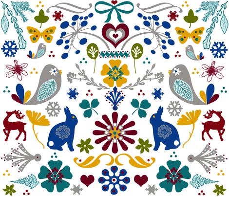 Scandinvavian Folk Art     fabric by mypetalpress on Spoonflower - custom fabric