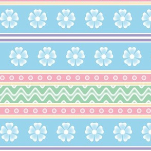 easter egg pattern in blue, pink, yellow, green