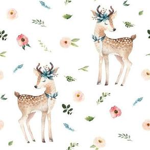 "8"" Boho Floral Deer // White"