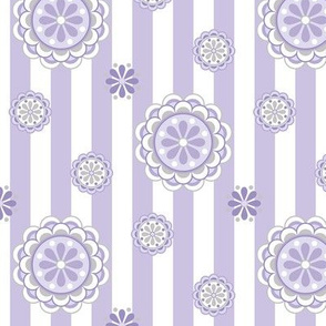 mod flowers on stripes in lavender and white