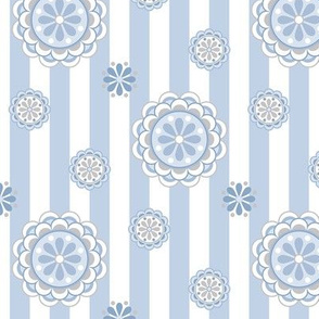 mod flowers on stripes in pastel blues and white