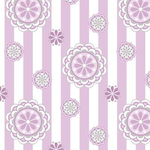 mod flowers on stripes in pastel pinks