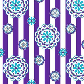 mod flowers on stripes in purple and turquoise