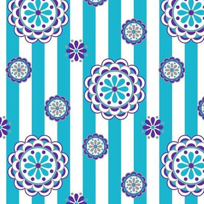 mod flowers on stripes in turquoise and purple