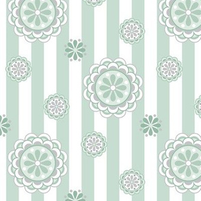 mod flowers on stripes in sage green and white