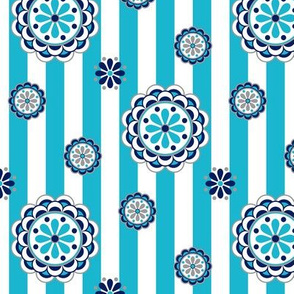 mod flowers on stripes in turquoise and navy