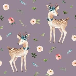 """8"""" Boho Floral Deer // Venus Purple"""