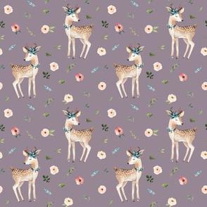 """4"""" Boho Floral Deer // Venus Purple"""