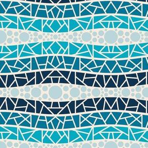 mosaic wavy stripes ocean blues 1
