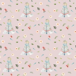 """4"""" Woodland Floral Teepee // Wafer"""