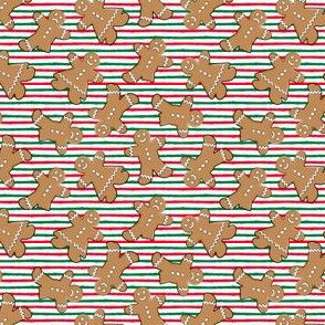 "(1"" scale) gingerbread man toss on red and green stripes C18BS"