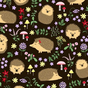 Hedgehogs in a woodland forest