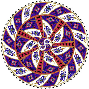 Native American Mandala on Red