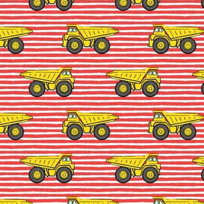 dump trucks - red stripes - construction