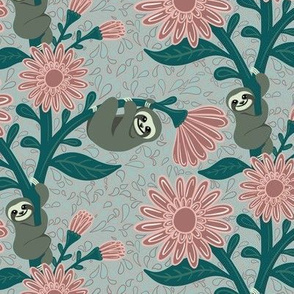 Happy sloths & giant daisies - light blue