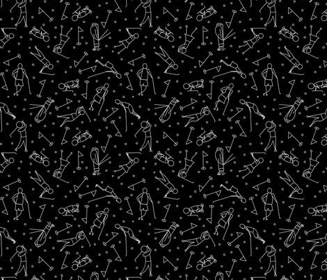 stick figure golf scatter black and white fabric by pamelachi on Spoonflower - custom fabric