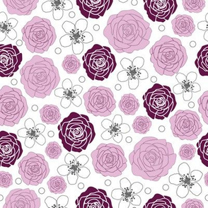 Rose and Dewberry-Flowers in Bloom pattern Background in Pink Maroon and White