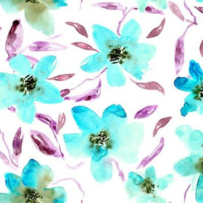Tiffany blue watercolor florals || painted flowers in turquoise blue