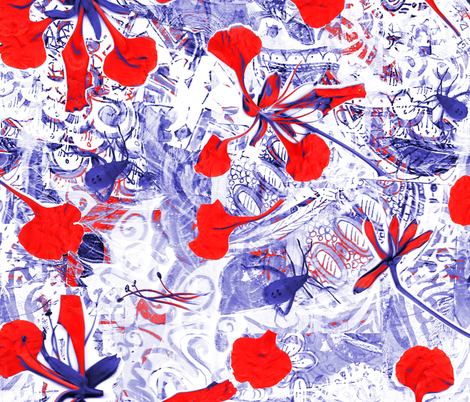 poinciana blue red fabric by gilli_dig on Spoonflower - custom fabric