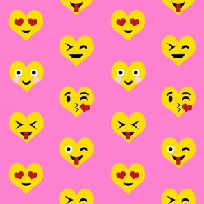 valentines day emoji love fabric - cute emoji kiss, emoji love, heart eyes fabric, cute emojis design - valentines love - bubblegum pink and yellow