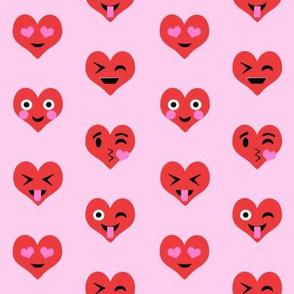 valentines day emoji love fabric - cute emoji kiss, emoji love, heart eyes fabric, cute emojis design - valentines love - pastel pink and red