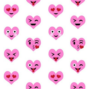 valentines day emoji love fabric - cute emoji kiss, emoji love, heart eyes fabric, cute emojis design - valentines love - bubblegum pink
