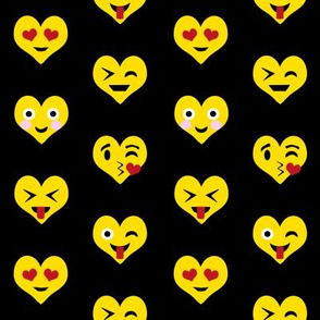 valentines day emoji love fabric - cute emoji kiss, emoji love, heart eyes fabric, cute emojis design - valentines love - black