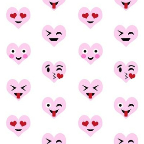 valentines day emoji love fabric - cute emoji kiss, emoji love, heart eyes fabric, cute emojis design - valentines love - pink