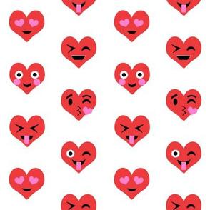 valentines day emoji love fabric - cute emoji kiss, emoji love, heart eyes fabric, cute emojis design - valentines love -red